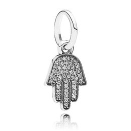 Authentic 925 Sterling Silver Bead Charm Hamsa Hand Dangle With Crystal Pendant Beads Fit Pandora Bracelet Bangle Diy Jewelry HKA3462