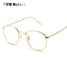 wholesale two oclock fashion gold metal frame eyeglasses for women female vintage glasses clear lens optical frames oculos de grau 3447 wholesale gold