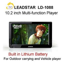 Nouveau 10,2 pouces LD-1088 HD LED Portable écran Built in batterie au lithium TV Media Player 1080P HD Player Support HDMI VGA TV USB SD entrée