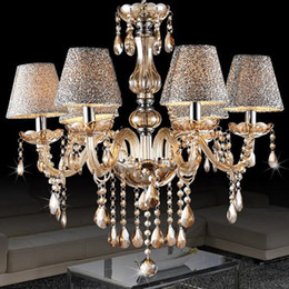 Chandalier Lamp Shades: European modern minimalist living room lamp crystal chandelier crystal  candle lights dining room bedroom chandelier light with shade 6 heads,Lighting