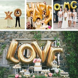 40 a z full alphabet gold foil letter balloons air balloon party wedding decoration mylar foil large balloons 2017 wholesale