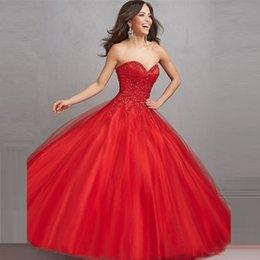 Wholesale 2017 nuevo vestido de bola de hadas rojo elegante Quinceanera baratos vestidos rebordeando vestido de debutante de amor para el vestido de fiesta QC290