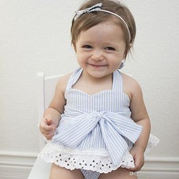 online shopping 2017 Baby Summer Clothes Sets Infant Toddlers Slip Lace Dress Big Bownot PP Pants Two Piece Sets Girl Summer Clothes Sets