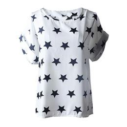 Wholesale Grossiste T shirt Femmes Été Etoiles Imprimer Tops Dames Casual Manche Manches Femmes S XXL Mousseline Confortable T shirt Femme