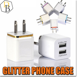 Discount universal adapter plate Wall Chargers color plating edge 2 usb home charger 2pin charging USA wall adapter 5V 1A cheap price charging plug for Iphone