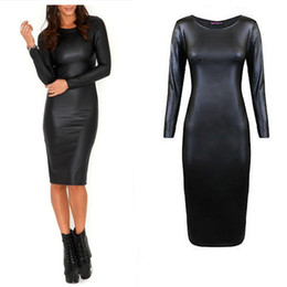 Discount Plus Size Long Sleeve Leather Dress | 2017 Plus Size Long ...