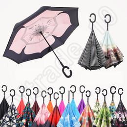 Car Inverted Parapluies à l'intérieur Reverse Umbrella C Poignée Self Standing Parapluie Windproof Rainy Sunny Umbrella 40 Designs OOA1238