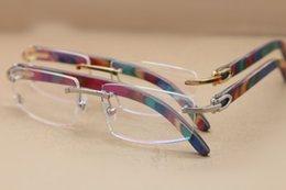brand designer eyeglasses frame optical glasses wooden legs glasses exquisite rimless myopia eyeglasses frame for women 54mm with case cheap designer