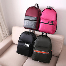 Discount black canvas backpacks Hot PINK Victoria Women Canvas Shopping BCKPACK Tote Zipper Shoulder Versatile Sack Summer Holiday Beach Letter Bag Bolsos TOP1462