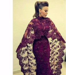 2017 yousef aljasmi Abaya In Dubai Purple Lace Evening Dresses Mermaid Muslim Arabic Celebrity Party Gowns New yousef aljasmi Kaftan Dress With Cape Abendkleid cheap yousef aljasmi