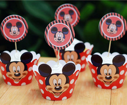 2017 party supplies Wholesale-Mickey mouse cupcake wrappers&toppers picks decoration kids birthday party supplies baby shower supplies(12pcs wraps+12 toppers)