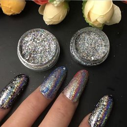 Wholesale Nuevo Chameleon Nail Art Flakes Polvos Multichrom Color Desplazamiento Nails Plata TREND GLITTER IRIDESCENT SEQUINS Polvo