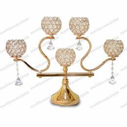 Crystal Candelabra For Wedding Bar Party Home Decor Brand French Gold Plated European Style Crystal Bow Candle Holder Free Shipping Myy