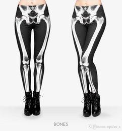 Wholesale 2017 Leggings nueva edición de la impresión para las mujeres Poliéster libre Polainas suaves pantalones leggings de yoga floral para el deporte de gimnasia de las mujeres patrón de huesos