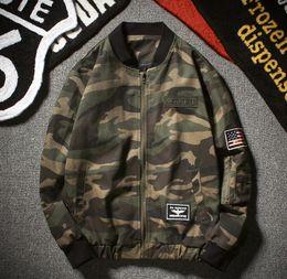 Wholesale Nuevo estilo militar de la chaqueta de los hombres de la chaqueta del bombardero de la impresión del camuflaje del bordado de la bandera de la manera del estilo del resorte m xl JK13