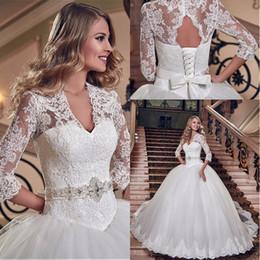 hot sale dubai luxury crystal flowers ball gown wedding dresses 2017 3 4 sleeve muslim wedding dress arab wedding gowns lace up back bridal muslim wedding