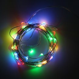Wholesale LED String Lights Battery Operated 2M 20leds Copper Wire Fairy  Lighting For Christmas,Garden,Patio,Wedding,Holiday Decorations
