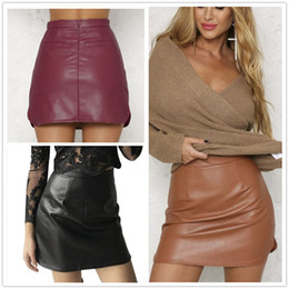 Brown Faux Leather Skirt Online | Brown Faux Leather Skirt for Sale