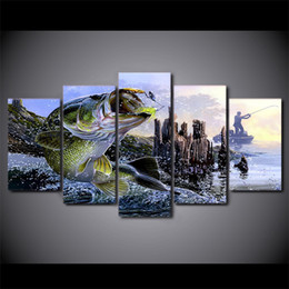 Discount Home Decor Fish Painting 5 Pcs Set Framed Hd Printed Largemouth Bass Fishing Wall Canvas