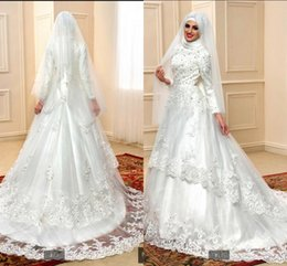 Wholesale 2017 el cordón musulmán appliques el vestido de boda alto del cuello del vestido de bola La vendimia árabe de las mujeres que rebordea venta caliente del vestido de la novia de los cequis