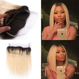 Discount ombre two tone color virgin hair Hot Sale Two Tone 1B 613 Blonde Dark Root Ombre Straight Virgin Brazilian Human Hair 360 Lace Band Frontal Closure With Baby Hair