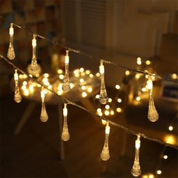 Wholesale 10M 100pcs Waterdrop LED Christmas String Lights Fairy Garland  AC220V For Holiday Wedding Patio Festival Outdoor Lighting
