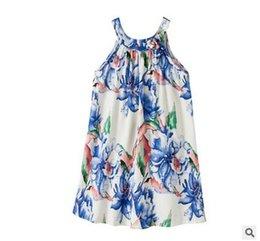 Wholesale Las muchachas se viste los niños del estilo chino arquean el vestido impreso lino del chaleco del algodón de los gilrs de la princesa de la suspensión los cabritos del verano imprimieron la ropa T2177
