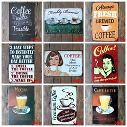CAFEE Vintage Tin Signs Retro Metal Sign Antiguidade Imitation Iron Plate Pintura Decoração A parede da Bar Cafe Pub Shop (Mixed designs)