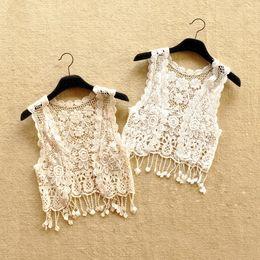 Cute Girl Dentelle Tassel Cardigans Gilets Automne Automne Mode Waistcoat Enfants Filles Blanc et Beige Couleur Outwear Gros 15pcs / lot Mix Couleur