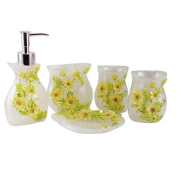 Resin 5 Pieces Bathroom Accessory Set   White With Sunflower ,Bathroom  Vanities,Home Decor