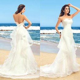 Wholesale Charme Blanc Tulle Et Stain Beach sirène robes de mariée Sweetheart Sweetless Backless Ruffle Long Robes de mariée sur mesure EN1203