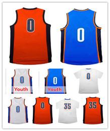 Atacado # 0 Masculino Russell Westbrook Jersey Adulto 100% Costurado # 35 Kevin Durant Jerseys Orange Kid's Youth fast Frete grátis