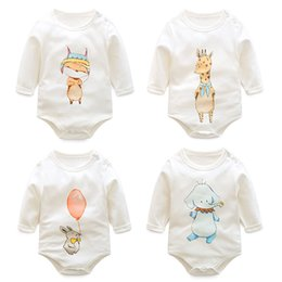 Wholesale Une pièce de bébés bébés mamelons marque mignon animal nouveau né jumpsuit printemps automne dessin animé renard souris éléphant girafe fille mamelon bébé vêtements