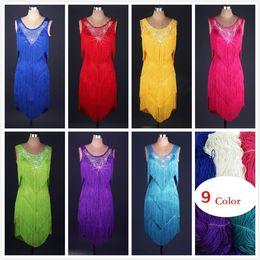 Nuevo vestido latino adulto de la danza del vestido de la danza de la salsa Tang cha cha de la borla de la competición de las borlas del vestido de la danza del grupo 5Color S-XXL adaptable