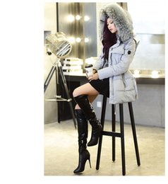 Wholesale Femmes Long Design Real naturel Raccoon fourrure Collier Manteau Hooded Duck Down Veste Down Parkas hiver warm outerwear vêtements Slim Fur Hoodies
