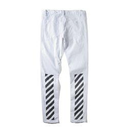 Black white striped jeans mens
