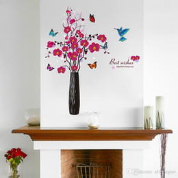 Waterproof Phalaenopsis Vase Wall Sticker Pvc Material Creative Wall Decals Diy Flower Home Decor For Living Room Decoration