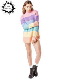 2016 autumn and winter korean kawaii lolita punk unif similar style pink macaron pull femme loose oversized knitted sweater