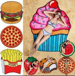 11 дизайнов Круглый пляжный пицца для пиццы Гамбургер Череп Мороженое Клубника Смайли Эмодзи Ананас Арбуз Душ Полотенце Одеяло Одеяло ООА1390