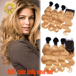 Discount ombre two tone color virgin hair Ombre Hair Extensions #1b 27 Honey Blonde Ombre Dark Root Virgin Human Hair 3Pcs With Lace Closure Two Tone Body Wave Hair Weaves