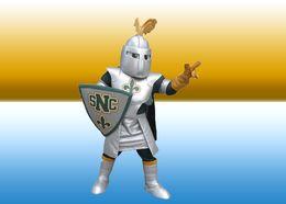 El traje de encargo de la mascota de St Norbert del caballero traje los juegos del carnaval de Navidad del personaje de dibujos animados del equipo del partido de Víspera de Todos los Santos para el adulto LLFA