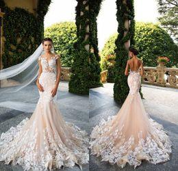 Wholesale Milla Nova Designer Mermaid Wedding Dresses Illusion Neck Capped Sleeves Full Lace Appliqued Backless Bridal Dress