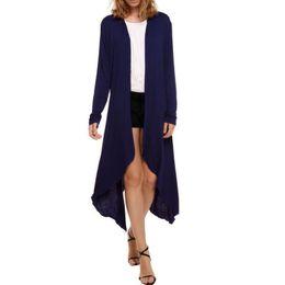Wholesale Grossiste Couleur Maxi Cardigan Femmes Thin Sweater Coat Femmes Tricotés à manches longues Asymmetric Drape Open Noir Pink Pulls oversize