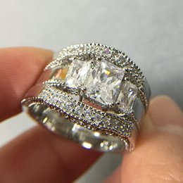 2017 diamonique engagement rings white gold Women Handmade Diamonique Cz  Simulated Diamond 10KT White Gold Filled