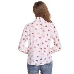 Las camisas de punto de las Chothes de las mangas de la manga del cuello de la solapa de los labios de la impresión de las camisas de la gasa de las mujeres liberan el envío