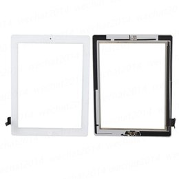 50PCS Touch Screen Glass Panel with Digitizer Buttons Adhesive for iPad 2 3 4 Black and White