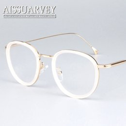 wholesale round metal frame glasses pink women fashion brand designer eyeglasses circle vintage prescription clear lenses black white new