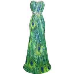 Angel-Fashions женщин без бретелек пера павлина печати бисера Стразы шифон платья партии выпускного вечера платья