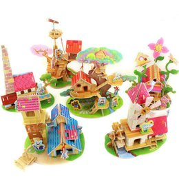 Wholesale Kids Diy Toys Wood 3d House Puzzle Model Building Kits Wooden Educational Toys 6 Designs For Choose Drop Shipping Ht238 Affordable 3d Model