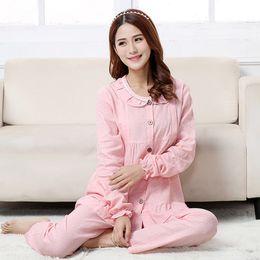 Maternidade Pijamas roupas de amamentação Ruffled pijamas manga comprida Set Mulheres grávidas enfermagem Tops + Pants RB0070
